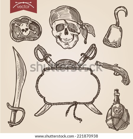 Pirate Attributes Objects Accessory Sword Saber Weapon Skull Black Label Hook Musket Jar Pistol Gun Background