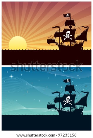 Pirate Backgrounds: Two cartoon backgrounds with pirate ships. Each is in A4 proportions, but you can extend the black area downwards. No transparency used. Basic (linear) gradients. - stock vector