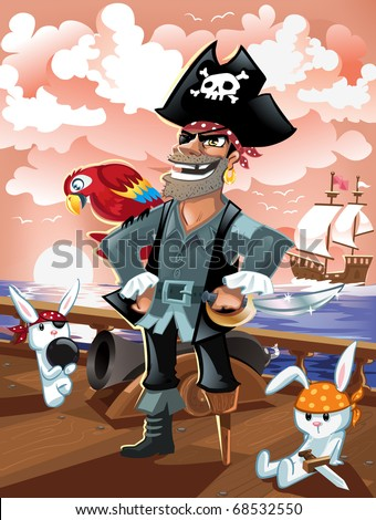 Pirate Captain and Crew - stock vector