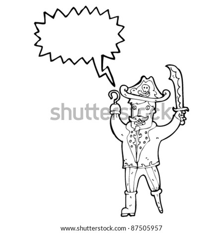 pirate captain cartoon - stock vector