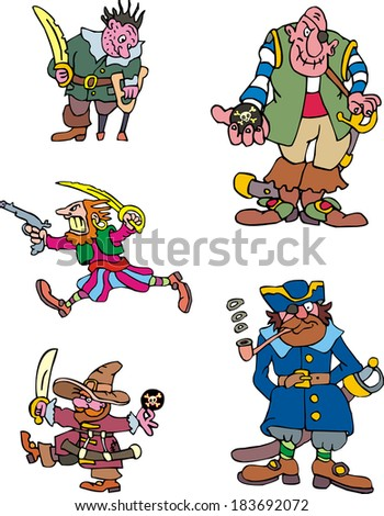 Pirate captains. Set of adventure vector illustrations.