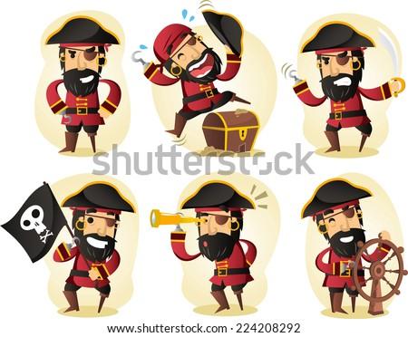 pirate cartoon set - stock vector