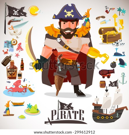 pirate character design with icons element. typographic design  - vector illustration - stock vector