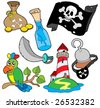Pirate collection 6 on white background - vector illustration. - stock photo