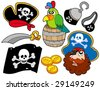 Pirate collection 8 on white background - vector illustration. - stock vector