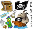 Pirate collection with wooden ship - vector illustration. - stock photo