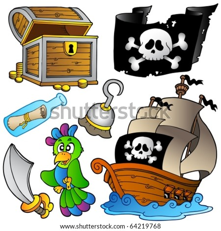 Pirate collection with wooden ship - vector illustration. - stock vector