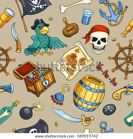 Pirate color seamless pattern. Sketch cartoon background.