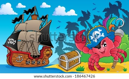 Pirate crab theme image 3 - eps10 vector illustration. - stock vector