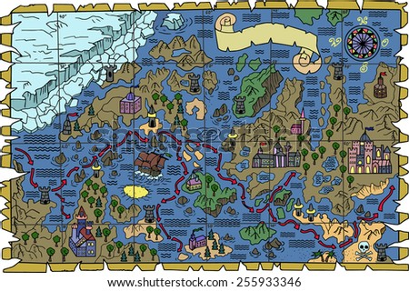 Pirate fantasy map with unknown lands, castles, banner and treasure islands. Hand drawn illustration - stock vector