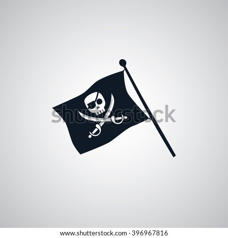 pirate flag flat icon theme vector art illustration - stock vector