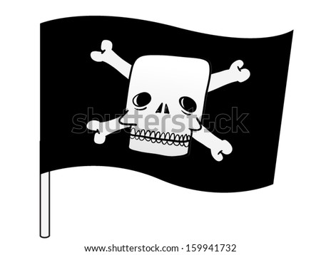 Pirate flag with a skull and cross bones