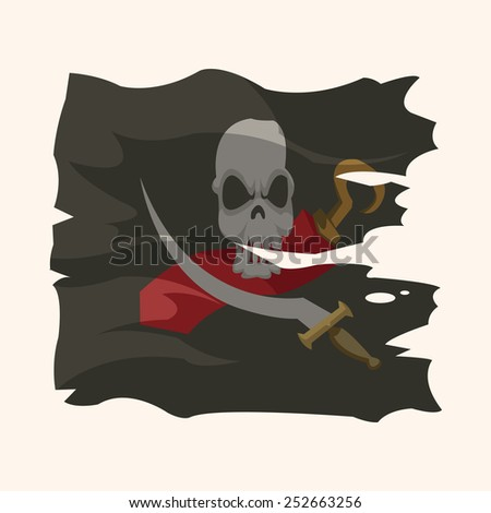 pirate flags theme elements vector,eps