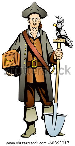 Pirate from the Treasure Island with the treasure chest, color vector image, parrot and shovel, adventure, secrets of the Caribbean Sea