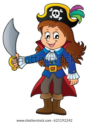 Pirate girl theme image 1 - eps10 vector illustration.