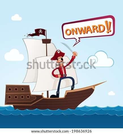 pirate giving a command on a sailing ship - stock vector