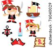 pirate graphics out at the sea - stock vector