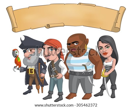 Pirate group - stock vector