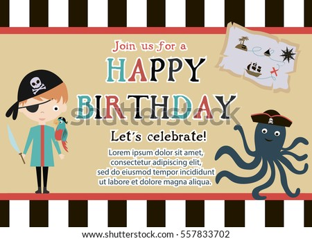 Man professor teacher classroom over chalk stock vector 686267419 pirate happy birthday invitation card template vector illustration stopboris Gallery