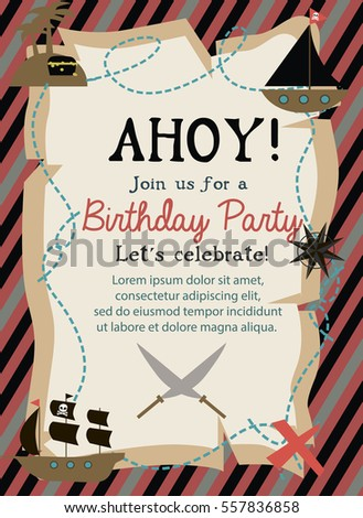 Pirate happy birthday invitation card template stock vector pirate happy birthday invitation card template vector illustration stopboris