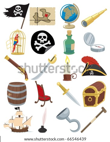 Pirate Icons: Collection of 20 cartoon pirate accessories. No transparency and gradients used. - stock vector