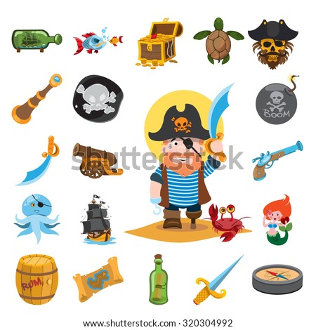 Pirate icons, pirate, pirate captain - stock vector