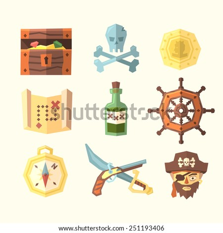 Pirate icons. Vector illustration. - stock vector