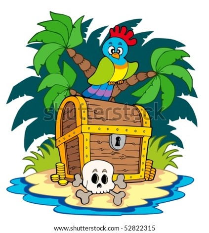 Pirate island with treasure chest - vector illustration. - stock vector