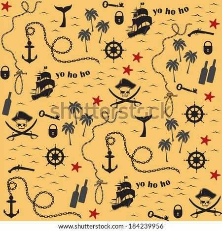 Pirate map pattern - stock vector