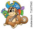Pirate monkey with parrot - vector illustration. - stock vector