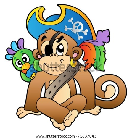 Pirate monkey with parrot - vector illustration.