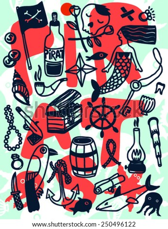 Pirate objects set. Funny vector illustration - stock vector