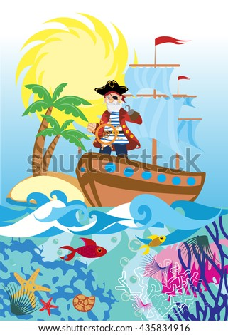pirate on a ship at sea - stock vector