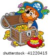 Pirate opening treasure chest - vector illustration. - stock photo
