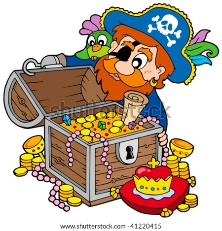 Pirate opening treasure chest - vector illustration. - stock vector