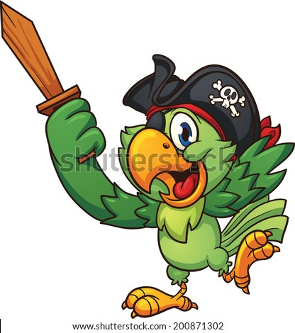 Pirate parrot holding  a wooden sword. Vector clip art illustration with simple gradients. All in a single layer. - stock vector