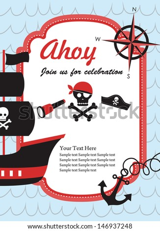 Pirate party invitation card design vector stock vector 2018 pirate party invitation card design vector illustration stopboris Image collections