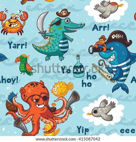 Pirate pattern in cartoon style. Awesome background in bright colors with pirates, crocodile, octopus, shark, crab, seagulls, parrot, and bottle of rum