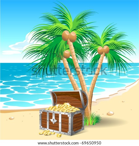 Pirate's treasure chest on a tropical beach with palm trees - stock vector