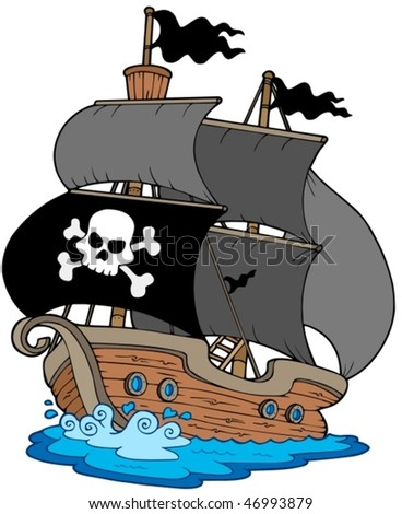 Pirate sailboat on white background - vector illustration. - stock vector