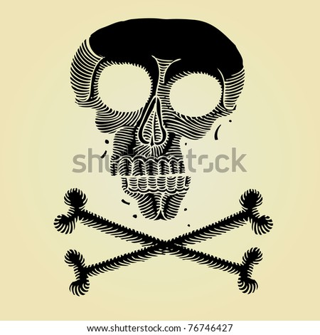pirate scull black woodcut - stock vector