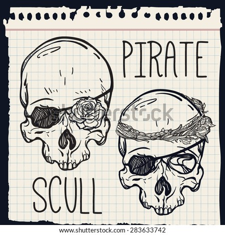Pirate scull mini Set . Scull with eye patch and rose flower instead of the eye and one with leaf crown. Tattoo, romance, adventure collection. Vintage style. Hand drawn isolated vector illustration.  - stock vector