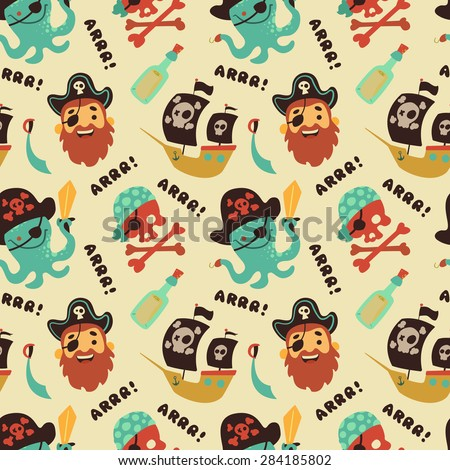 Pirate seamless pattern - stock vector