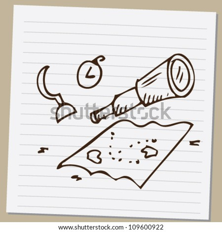 pirate set doodle illustration vector - stock vector