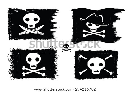 Pirate - set of pirate flags with sculls, bones, pirate hat and sword. Jolly Roger vector illustration.Grunge paint with brush strokes, ink blot. Pirate backgrounds collection.Design elements.Eps 10. - stock vector