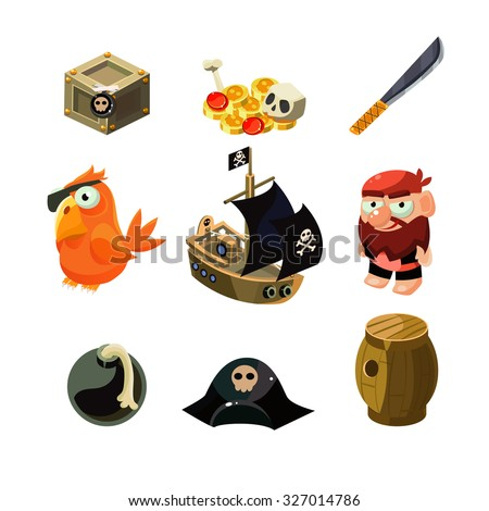 Pirate set. Vector illustration. Cartoon game elements - stock vector