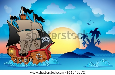 Pirate ship near small island 3 - eps10 vector illustration. - stock vector