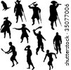 Pirate Silhouettes - stock photo