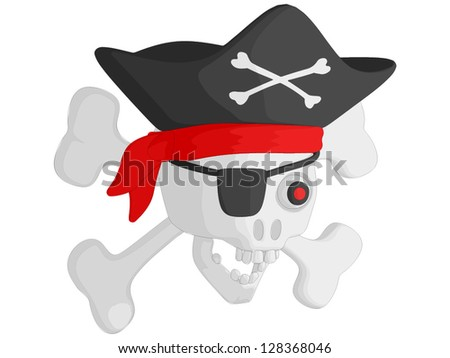 Pirate Skull and Crossbones - stock vector