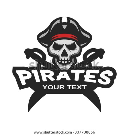 Pirate Skull and crossed sabers badge, logo, emblem. - stock vector